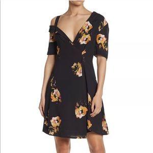 A.L.C. Lucia Silk Floral Wrap Cold Shoulder Dress